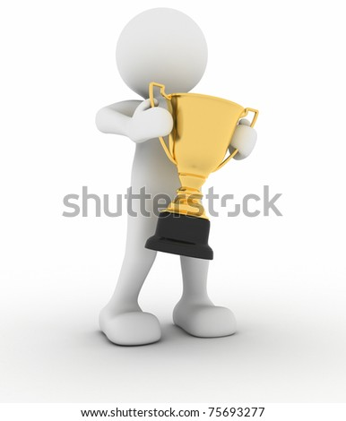 3d people - man holding golden trophy