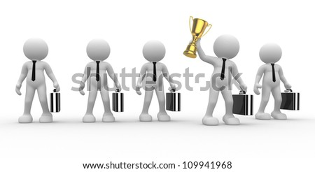 3d people - man, person and  a big golden trophy.  Businessman