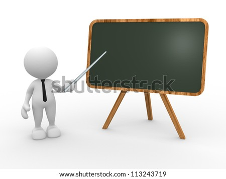 3d people - man, person and backboard. Teacher.