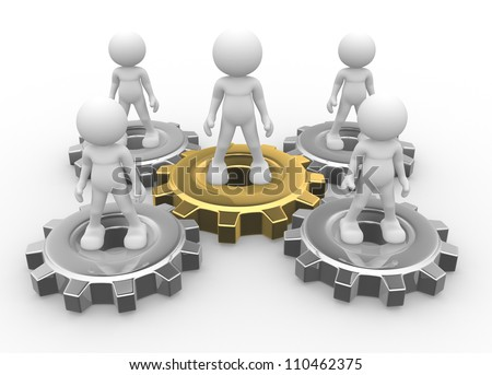 3d people - man, person and gear mechanism. Leadership and team.