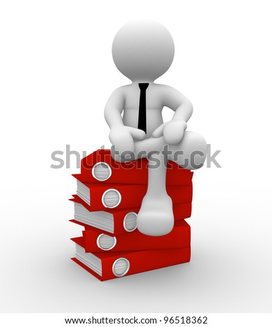 3d people -man, person and pile of folders