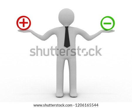 3d people - man, person and sign plus or minus.3d illustration