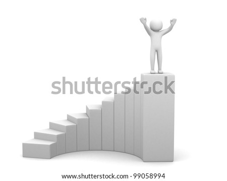 3d people - man, person and stair. Winner. 3d render