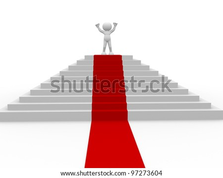 3d people - man, person and stair with a red carpet . Winner.