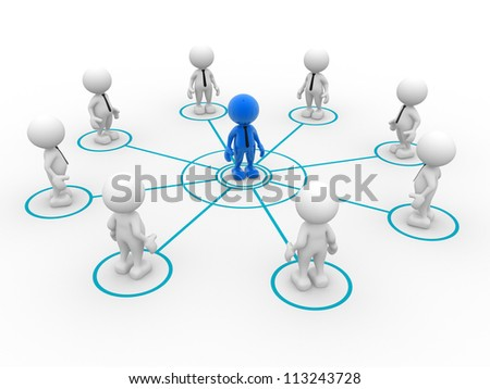 3d people - man, person arranged in a circle. Leadership and team