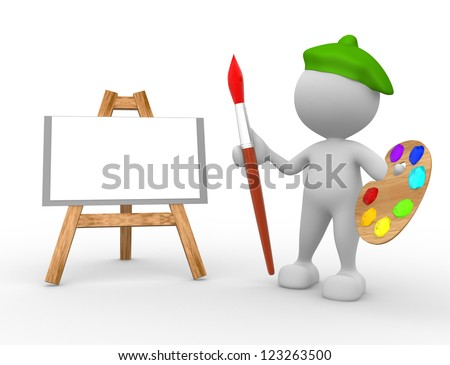 3d people - man, person artist painting on a canvas on an easel.