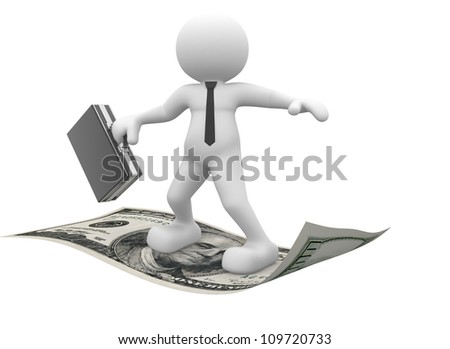 3d people - man, person flying on U.S. dollars. Businessman