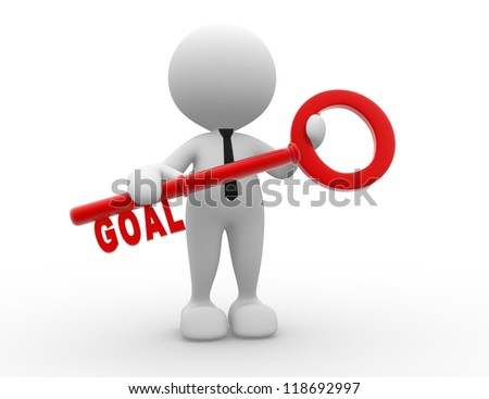 "3d people - man, person holding key with word "" goal ""."