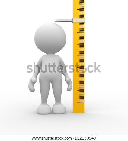 3d people - man, person measuring his height.