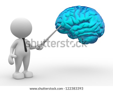 3d people - man, person pointing a brain