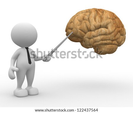 3d people - man, person pointing a brain.