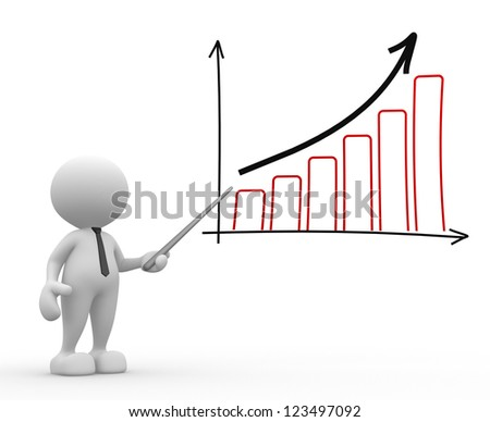 3d people - man, person pointing a graph chart