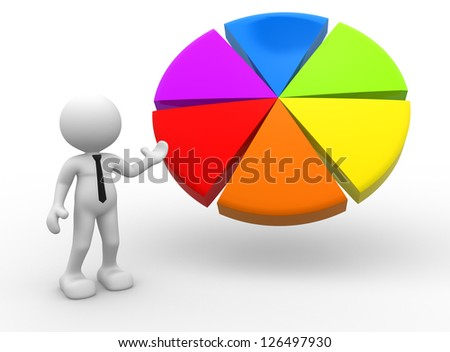 3d people - man, person pointing a pie chart.