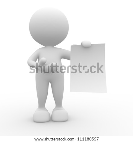 3d people - man , person presenting a blank paper . Concept of message.