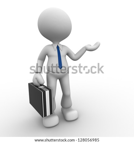 3d people - man, person presenting - pointing. Businessman