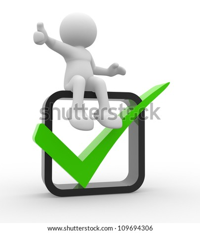 3d people -  man, person showing thumb up with green check mark in box.