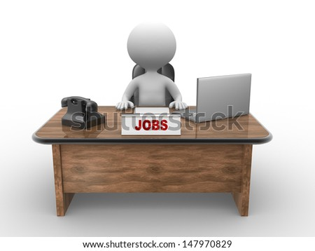 3d people - man, person sitting in the office. Laptop and phone Jobs