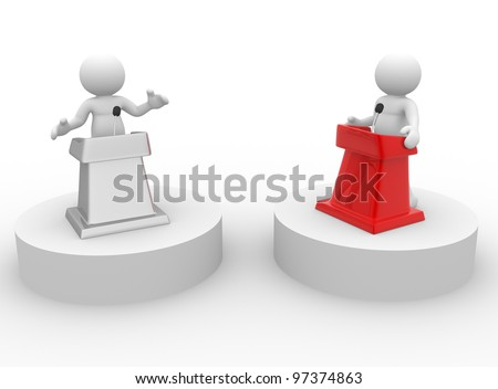 3d people - man, person speaking from a tribune. Speech at the microphone - confrontation