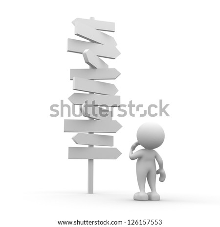 3d people - man, person standing in front of a road signs