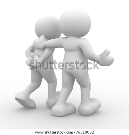 3d people - man, person walking with to hands behind and a friend