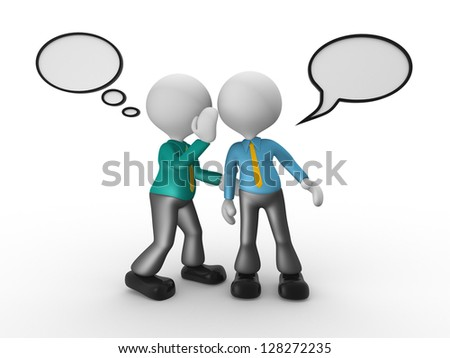 3d people - man, person whispering in his ear to another person. Businessman - stock photo