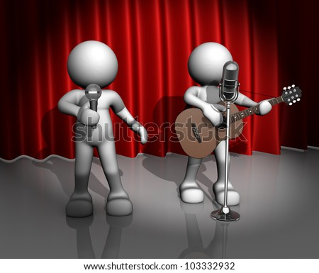 3d people - man, person with a acoustic guitar. Guitarist on stage at a microphone. Band