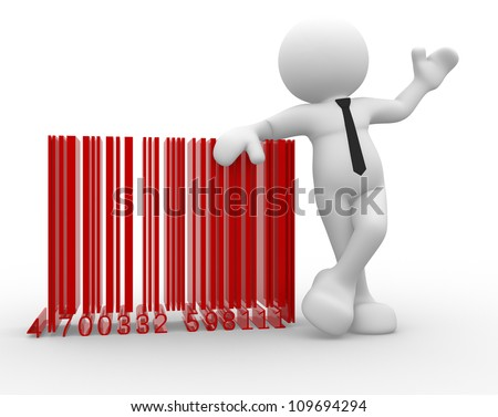 3d people - man , person with a bar code ( barcode ).