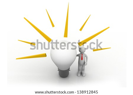 3d people - man, person with a big lightbulb. Idea concept.