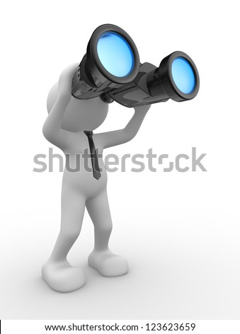 3d people - man, person with a binocular. Vision