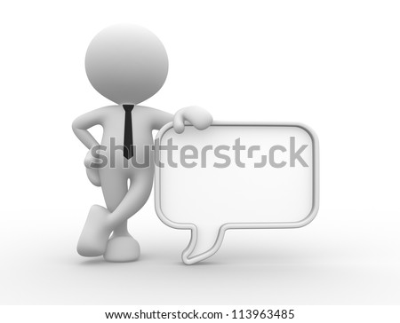 3d people - man, person with a blank speech bubble. Communication concept