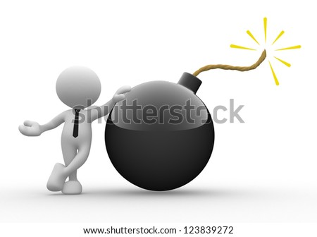 3d people - man, person with a bomb. - stock photo