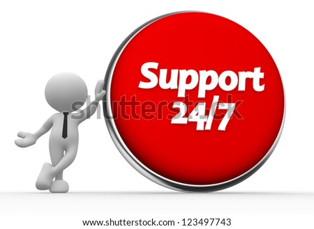 """3d people - man, person with a button and text """" support 24/7 """""""