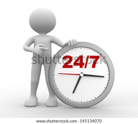 "3d people - man, person with a clock  and text "" 24/7 "" - stock photo"