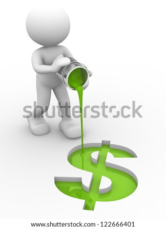 3d people - man, person with a  dollar sign - stock photo
