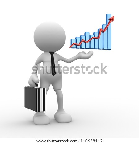 3d people - man, person with a graph financial. Businessman