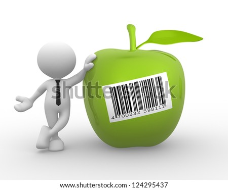 3d people - man, person with a green apple and barcode