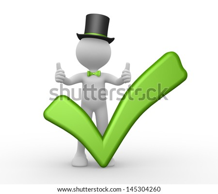 3d people - man, person with a green check mark. Ok