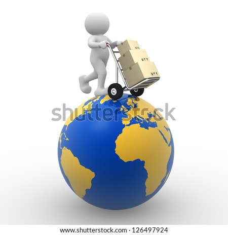 3d people - man, person with a hand truck and boxes. Global Delivery - stock photo