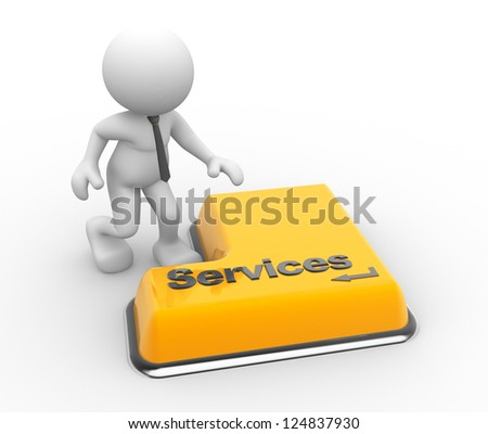 "3d people - man, person with a keyboard and word ""services"""