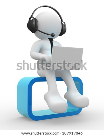 3d people - man , person with a laptop and headphone.