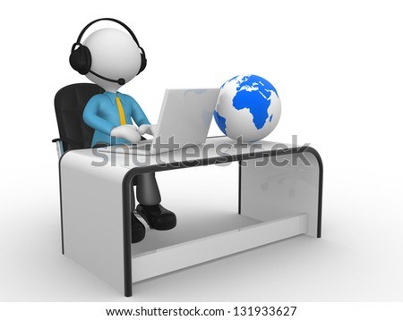 3d people - man,  person with a laptop and headphones at a office. Earth globe.