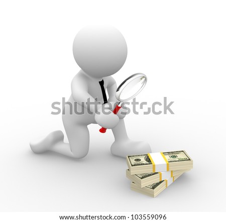 3d people - man, person with a magnifying glass and pile of dollar. Search concept.