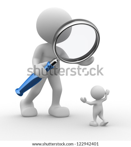 3d people - man, person with a magnifying glass. Audit