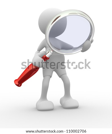 3d people -man,  person  with a magnifying glass.  Search Concept