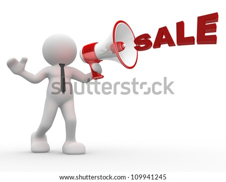 "3d people - man, person with a megaphone and word ""Sale"""