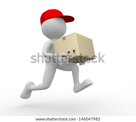 3d people - man, person with a package. Postman, delivery. Postman, delivery