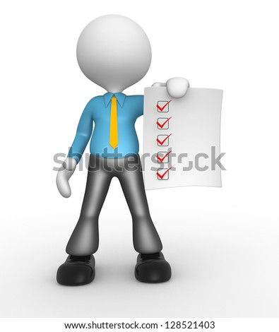 3d people - man, person with a paper and checklist. Businessman