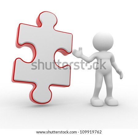 3d people - man , person with a piece puzzle. Jigsaw - stock photo