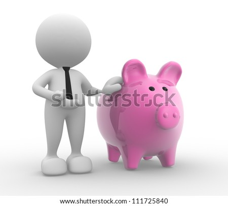 3d people - man, person with a piggy bank.  Banker