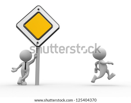 3d people - man, person with a priority road sign.